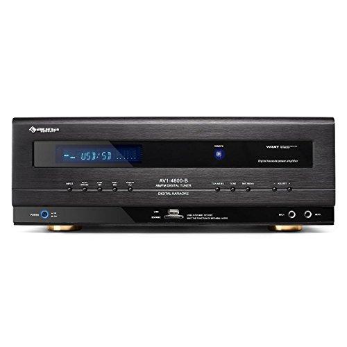 Auna AVI-4800 • Amplificateur Hifi • Puissance 1000W • Entrées USB et SD • Compatible MP3 • Récepteur FM/AM intégré • 2 entrées microphone • WRAT • Design élégant • Télécommande incluse • No