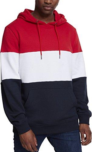 Urban Classics Herren Kapuzenpullover 3-Tone Hoodie, dreifarbiger Retro Color-Block Streetwear Hoody, mit Känguru-Tasche und Kapuze mit Tunnelzug Mehrfarbig (fire Red/White/Navy 01236)
