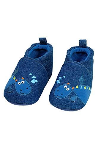 maximo 85203 - Baby Lauflerschuhe Krabbelschuhe Hausschuhe Drache (18 EU, Jeansblau)