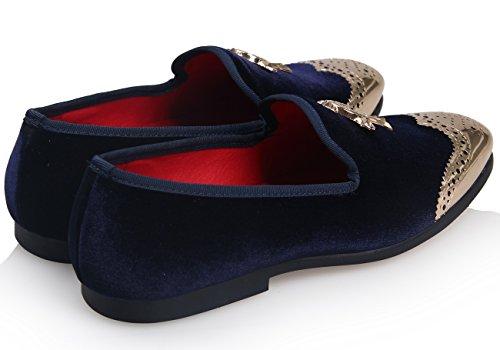 ELANROMAN Herren Vintage Samt Flach das Kupfer Metallschnalle Sliper Halbschuhe Schuhe Navy Blau