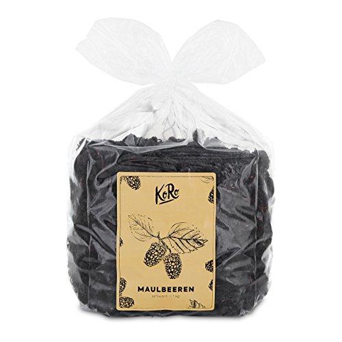 Preisvergleich Produktbild Bio Maulbeeren Schwarz Getrocknet Trockenfrüchte Zuckerfrei Schwefelfrei 1 kg Vorteilspackung KoRo