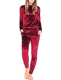 Girlzwalk ® Mesdames Femmes Velours Jogger Lounge deux pièces Set Sportswear Tracksuit (Rouge Bordeau, SM 36-38)