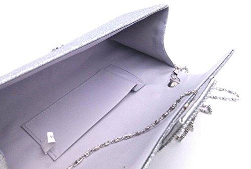 FZHLYTrendy Tempérament Diamant Sac De Soirée Ladies éclair Matériel Sac à Main Mode Silver