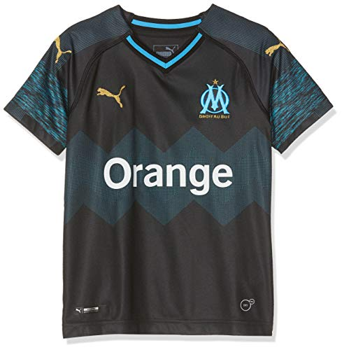 PUMA Kinder Olympique de Marseille Away Shirt Replica SS Kids Trikot, Black-Bleu Azur, 152 (Marseille Fussball Trikot)