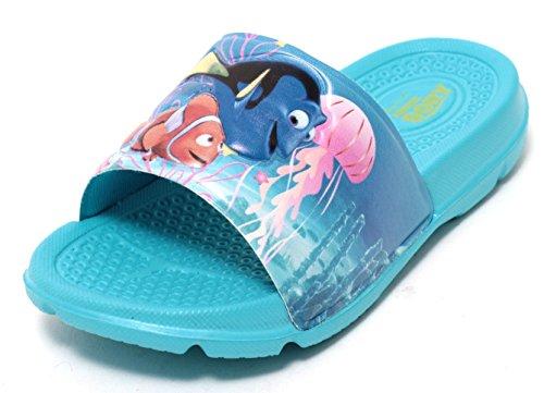 Mädchen Jungen Kinder Badepantolette Pantolette Sandale Schuhe Disney Dory Motiv Nemo und Dory Gr.27-29 Hellblau Bunt (28)