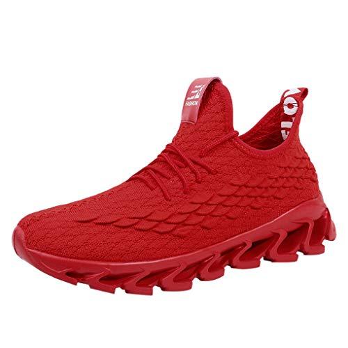 Große Größe Sportschuhe für Herren/Skxinn Männer Laufschuhe Sommer Casual Sneaker Leichte Traillaufschuhe Turnschuhe Rutschfeste Atmungsaktiv Mode Freizeitschuhe 39-47 EU Reduziert(Rot,40 EU)
