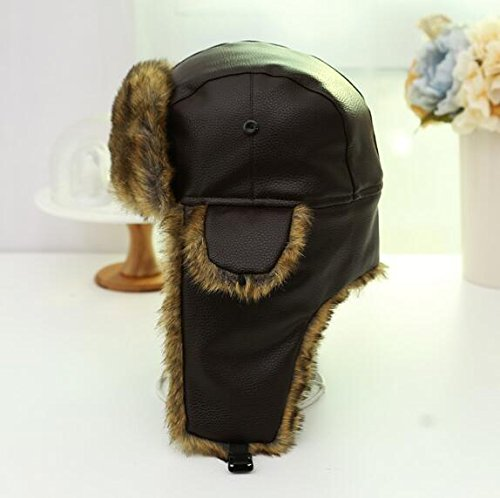 Leather Aviator Russian Ushanka Trapper Winter Fur Hat,Ski cap