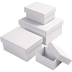 Boîtes rectangulaires, dim. 5x7,5+7x9,5 cm, dim. 8,5x11,5+11x14 cm, blanc, 4pièces, h: 3,5+4,5+5,5+6,5 cm