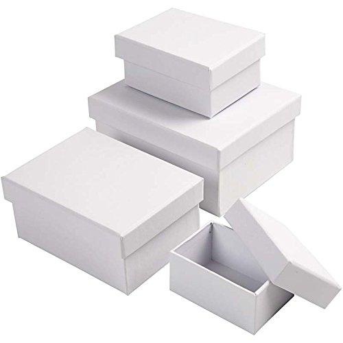 Rechteckige Geschenkkartons, Größe 5x7,5+7x9,5 cm, Größe 8,5x11,5+11x14 cm, weiß, 4sort., H: 3,5+4,5+5,5+6,5 cm