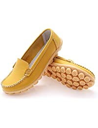 Las Mujeres Zapatos de Cuero Genuino Deslizamiento sólido en el Barco Zapatos Flats Zapatos Mocasines de