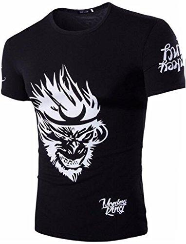 Men's 3D Camisetas Monkey King Printed Short Sleeves Tee Shirt Black