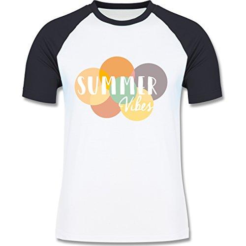 Statement Shirts - Summer Vibes - zweifarbiges Baseballshirt für Männer Weiß/Navy Blau