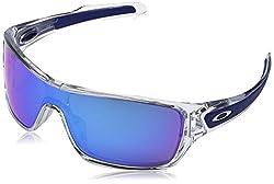 Oakley Men's Turbine Rotor Non-polarized Iridium Rectangular Sunglasses, Polished Clear With Sapphire Iridium, 132 Mm