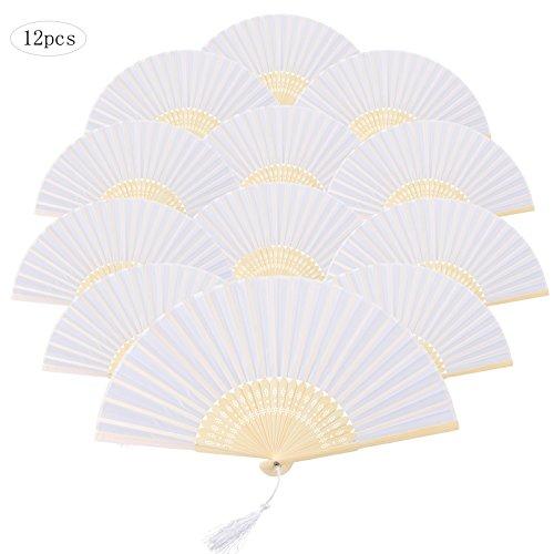 12 Stück Edel weiß Handfächer mit Quaste, KAKOO Vintage Seide Fächer Japanischer Faltfächer für Hochzeit foto Pop Party Kinder Geschenk zum Bemalen und (Chinesische Tanz Kinder Für Kostüm)