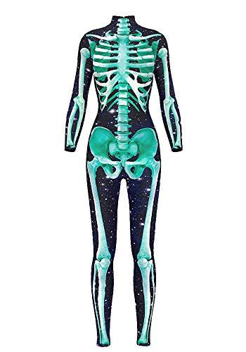URVIP Damen Halloween Jumpsuit Kostüm 3D Print Langarm Skinny Knochen Skeleton Catsuit Cosplay Skelett Overall Bodysuit Anzug Karneval Fasching BDS-97006 M