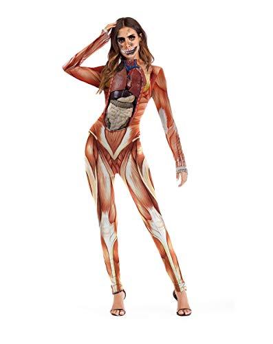 Realistisch Kostüm - Halloween Kostüm Party Ladies Onesies, Bühnenkostüme, Realistische Ergonomische Drucke, Neuheiten Strumpfhosen, Outdoor-Strumpfhosen, Sexy Kostüme Für Maskerade,L