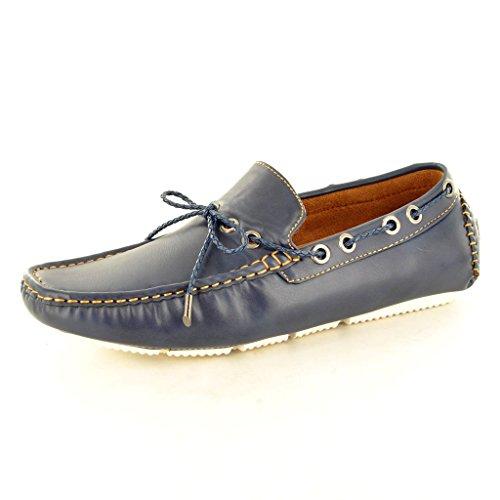 """New Herren Leder """"Look"""" Casual Loafer Mokassins Slip auf Schuhe mit Spitzen-Detail Marineblau"""