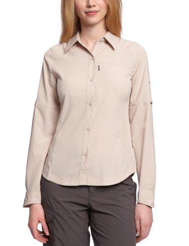 Columbia Langarm-Wanderhemd für Damen, Silver Ridge Long Sleeve Shirt, Nylon, beige (fossil), Gr. L, AL7079 -