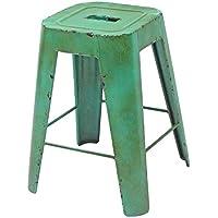 Better & Best 2711056 - Taburete de hierro apilable, cuadrado, color verde antiguo