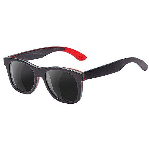 Ppy778 Polarisierte Sonnenbrillen für Herren, Vintage Handmade Wood, Outdoor-Reitbrillen UV-Schutz (Color : Black)