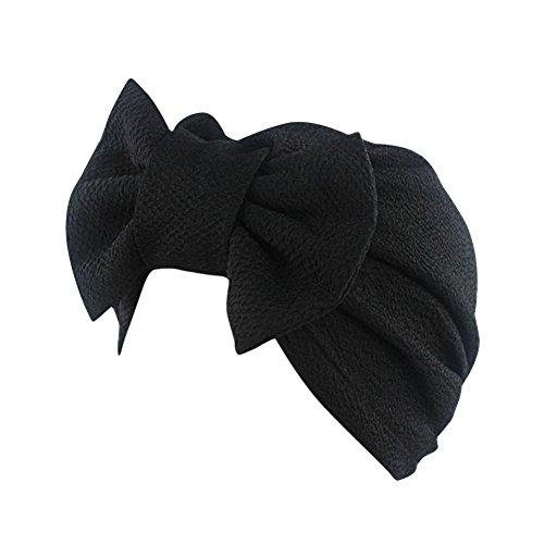 iShine Indien Turban Cap Moslemin Turban Weibliche Elastic mit Groß Schleife Monochrome Kopftuch Mütze für Haarausfall Krebs Chimio Schwarz