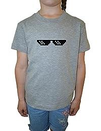 Matón Vida Acuerdo Con Eso Gafas Niña Niños Camiseta Cuello Redondo Gris Algodón Manga Corta Girls Kids T-shirt Grey