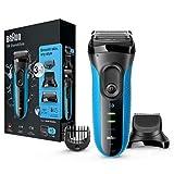 Braun Series 3 Proskin Shave&Style 3010BT, Afeitadora Eléctrica 3 en 1 Wet & Dry para Hombre con Recortadora de Precisión para la Barba y 5 Peines, Recargable e Inalámbrica, Negro/Azul