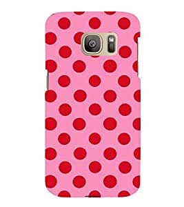 Printvisa Premium Back Cover Pink and Red Polka Dot Patterns Design for Samsung Galaxy S7::Samsung Galaxy S7 Duos with Dual-SIM Card Slots