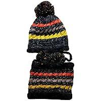 Happy Event Womens Hut Lätzchen | Warm Ohr Velvet Thicken Fluff Ball häkeln Winter Haarball Caps