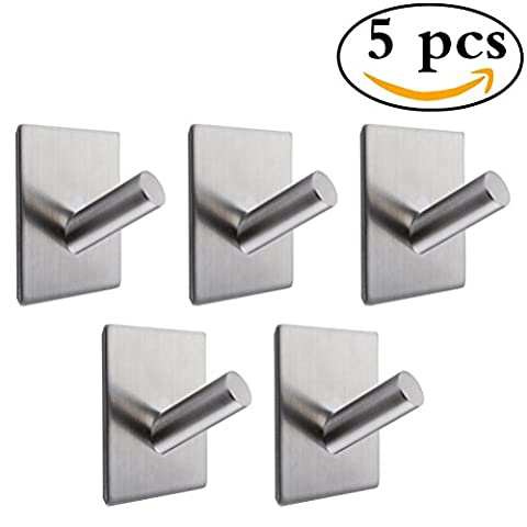 5 PCS SUS 304 Stainless Steel 3M Self Adhesive Towel Robe Hook Key Rack and Hotel Bathroom Lavatory Garage Kitchen Self Sitck On Wall and Glass Stainless Steel Hook