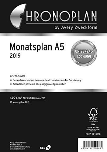Chronoplan 50289 Kalendereinlage 2019, Monatsplan A5 (zum Ausklappen), weiß