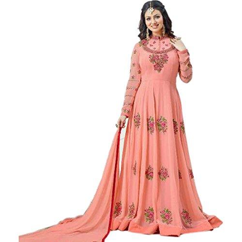 Aryan Fashion Women Georgette Wedding Emboirdery Semi-Stitched Salwar Suit (AFB_10634_Peach)
