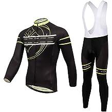 Baymate Unisex Traspirante Ciclismo Abbigliamento Maniche Lunghe Maglia + 3D Imbottito Pantaloni Bicicletta