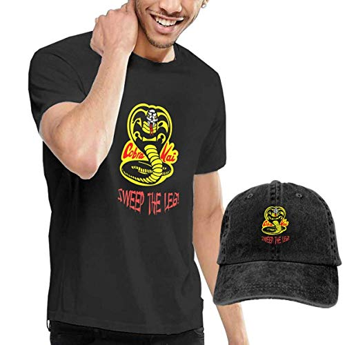 Thimd Cobra Kai 1984 Sweep The Leg Herren Kurzarm T Shirt Baseball Cowboy Hut Set Schwarz - 4215 Tinte