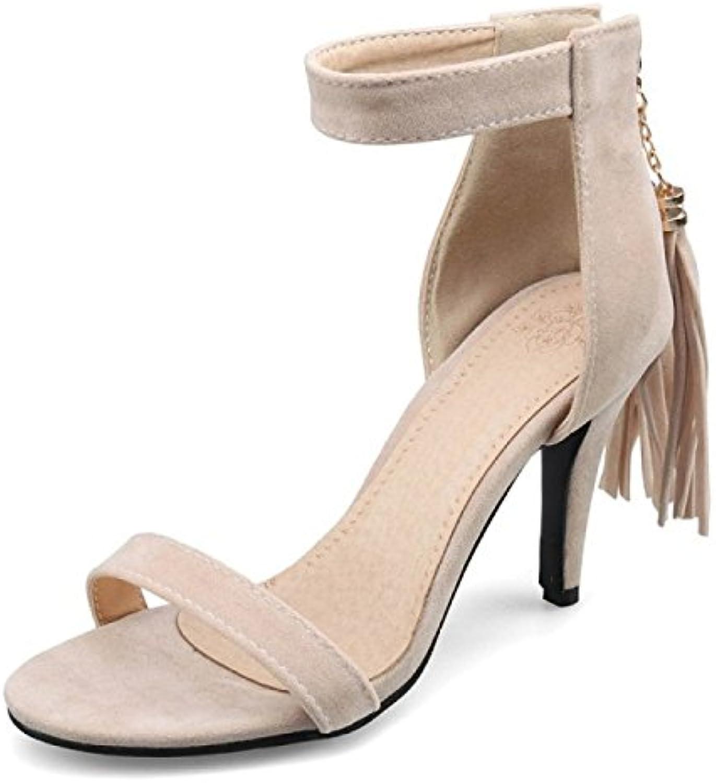 eb5524ff4b07b1 ALBOC ALBOC ALBOC Femmes Talon Aiguille Bride à La Cheville Frange s  Dames Peeptoe Strappy Parti Chaussures PompesB07CWT6J53Parent   De Première  ...