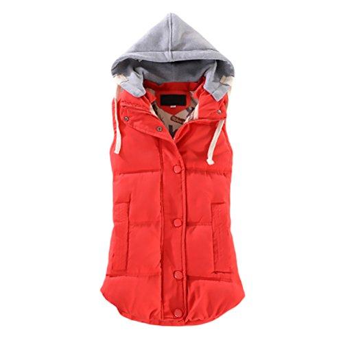 Giacca Donna Gilet Con Cappuccio Senza Maniche Elegante Fashion Stile Dolce Casual Autunno E Inverno Caldo Giacche Trapuntato Imbottita Giubbino Cappotto Coat rossi