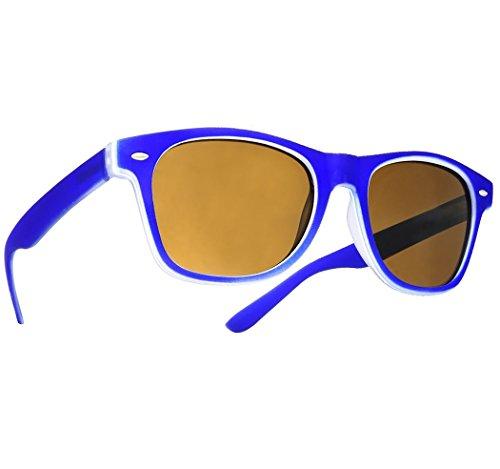 Damen Herren Sonnenbrille UNISEX Retro Vintage Round Sonnen Brille SUNGLASSES MFAZ Morefaz Ltd (Blue)