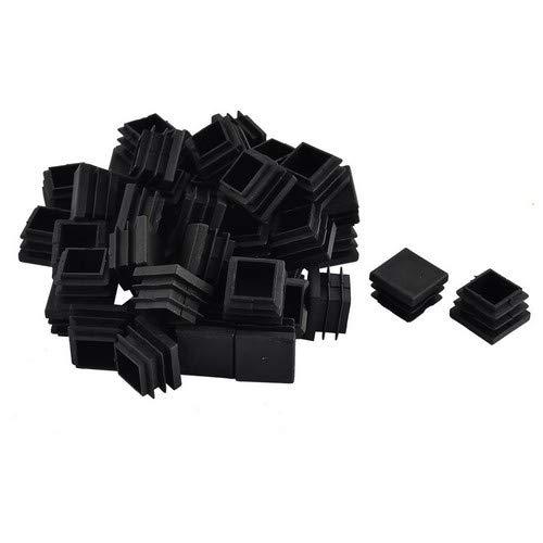 Sourcingmap® Kunststofffüße für Möbel, Tisch, Stühle, quadratisch, 22 x 22 mm, Schwarz, 50 Stück