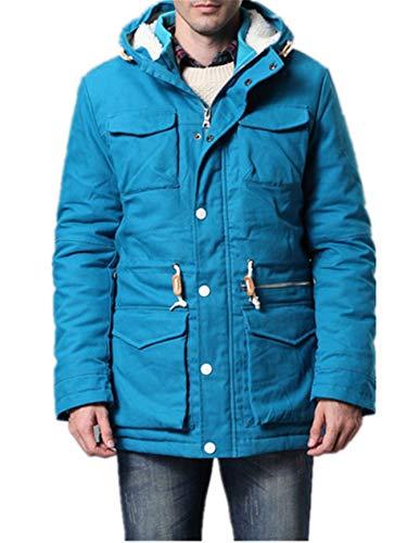 Herren Gesteppt Reißverschluss Mit Kapuze Mode Winter Parka Jacke Baumwolle Mantel(XS,blau)