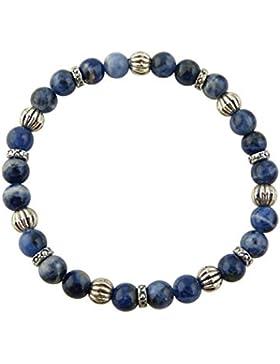 Sunsara Traumsteinshop Edelstein Sternzeichen Armband - Jungfrau - Sodalith - mit silberfarbenen Tibet Perlen,...