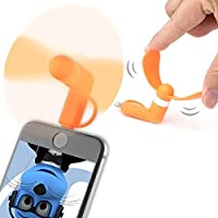 Orange PocketBreeze Selfie Pocket Size Mini Fan Accessory with 2 in 1 connector Micro USB and IOS For Samsung S6810 Fame