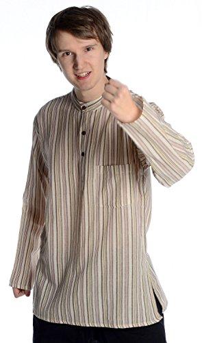 HEMAD Fischerhemd Baumwoll-Hemden Kurta Hemd beige-braun -