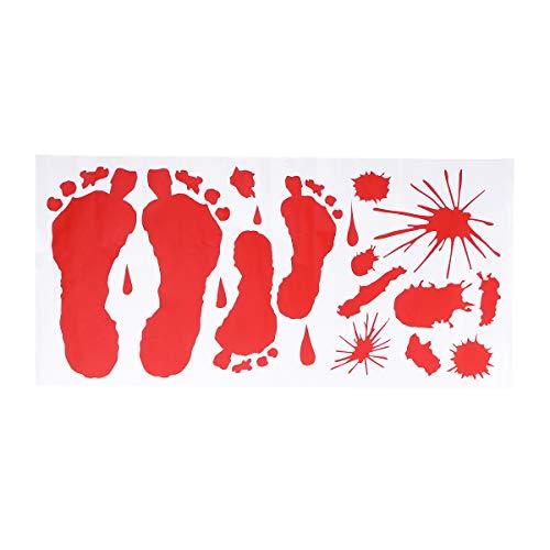 STOBOK Rote Grafik Blutige Aufkleber Splatter Feet Print für Halloween Kostüm Dekor Aufkleber Aufkleber