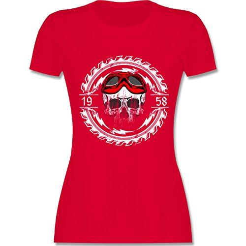 ion Biker - 60. Geburtstag Jahrgang 1958 Totenkopf - M - Rot - L191 - Das Beste Frauen Shirt von #RedSkullBikerFashion (Biker-mama)