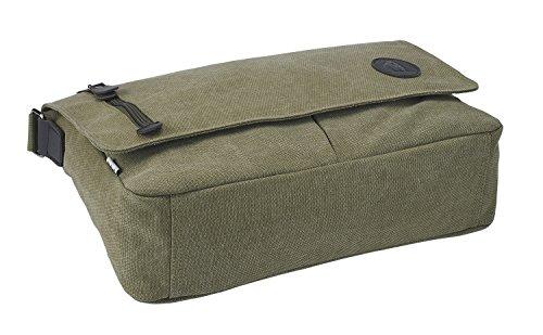 Borsa messenger di tela, vintage, unisex, borsa a tracolla ideale per la vita quotidiana, per la scuola, l'università e l'ufficio, di Bear and Goodies (nero) verde militare