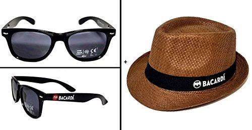 Preisvergleich Produktbild Bacardi Sommer Set - 1x Sonnenbrille + Hut Strohhut Strandhut partyhut Sonnenhut in braun