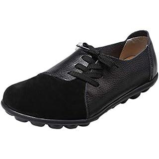 Mallimoda Damen Mokassin Casual Loafers Komfort Leder Flache Schnürschuhe Schwarz 38
