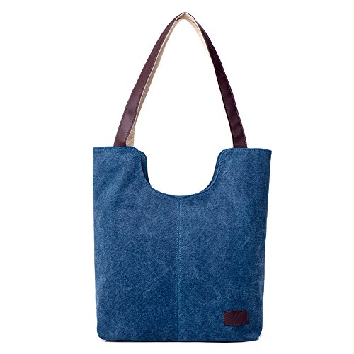 BYD - Donna School Bag Borse Tote Bag Travel Bag U Style Canvas Bag Borse a mano Borse a spalla Shopping Bag Blu scuro