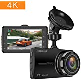 TOGUARD Dash Cam 4K dans la Voiture Ultra HD Car Camera de Conduite Enregistreur Vidéo 3 Pouces Écran Tableau de Bord Appareil Photo avec WDR Boucle Enregistrement G-capteur Parking Moniteur
