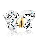 PoeticCharms Schmetterling 925 Sterling Silber Charm Herz Liebe Mutter Tochter Kristall Bead für Armband